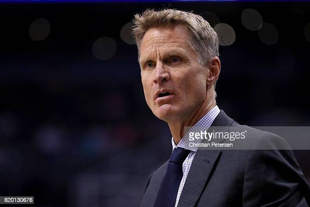 Head coach Steve Kerr of the Golden State Warriors reacts during the NBA game against the Phoenix Suns at Talking Stick Resort Arena on October 30...