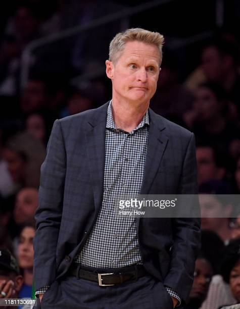 Head coach Steve Kerr of the Golden State Warriors reacts to play during the first half against the Los Angeles Lakers at Staples Center on October...