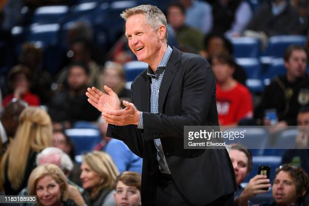 Head Coach Steve Kerr of the Golden State Warriors smiles during the game against the New Orleans Pelicans on November 17 2019 at the Smoothie King...