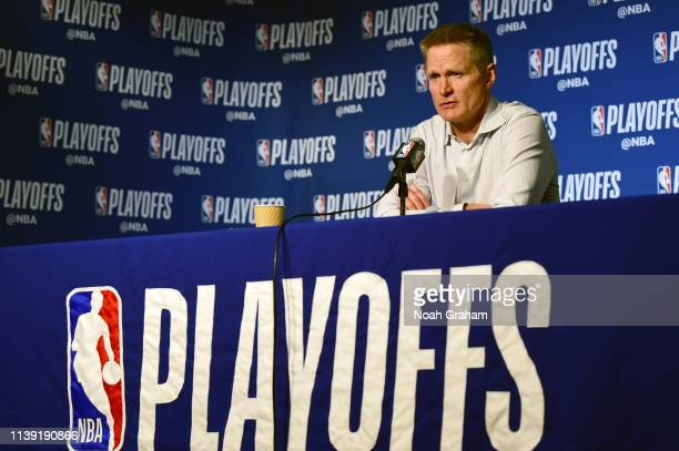 Head Coach Steve Kerr of the Golden State Warriors speaks to the media after Game Five of Round One against the LA Clippers during the 2019 NBA...