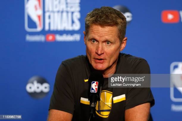 Head coach Steve Kerr of the Golden State Warriors speaks to the media following Game Three of the 2019 NBA Finals against the Toronto Raptors at...