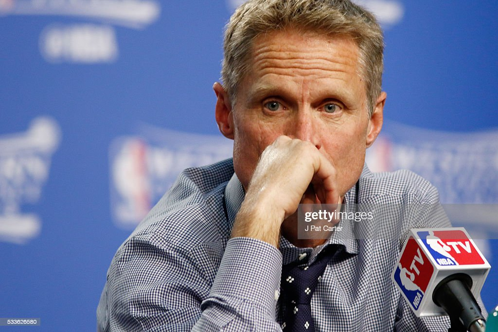 Head coach Steve Kerr of the Golden State Warriors speaks to the media after game three of the Western Conference Finals against the Oklahoma City Thunder during the 2016 NBA Playoffs at Chesapeake Energy Arena on May 22, 2016 in Oklahoma City, Oklahoma.