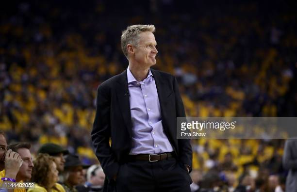 Head coach Steve Kerr of the Golden State Warriors stands on the side of the court during their game against the LA Clippers during Game Two of the...