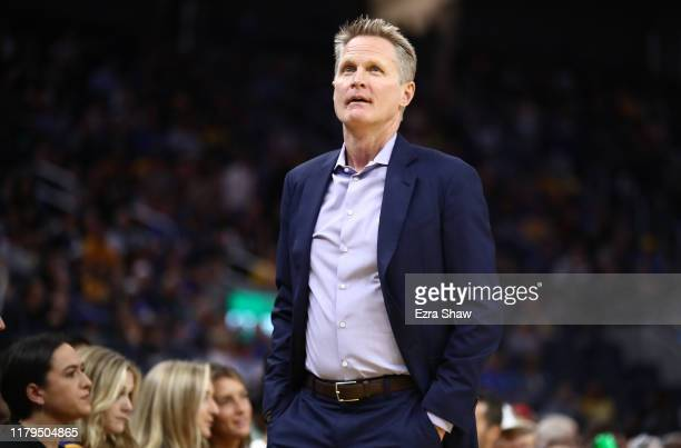 Head coach Steve Kerr of the Golden State Warriors stands on the side of the court during their game against the Los Angeles Lakers at Chase Center...