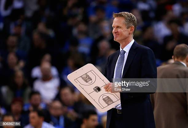 Head coach Steve Kerr of the Golden State Warriors stands on the side of the court during a time out of their game against the Indiana Pacers at...