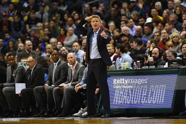 Head coach Steve Kerr of the Golden State Warriors talks to his team during the first half of a game against the Milwaukee Bucks at the Bradley...