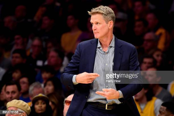 Head coach Steve Kerr of the Golden State Warriors wants a travel called in the first quarter against the Los Angeles Lakers at Staples Center on...