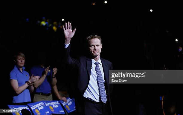 Head coach Steve Kerr of the Golden State Warriors waves to the crowd before their game against the Indiana Pacers at ORACLE Arena on January 22 2016...