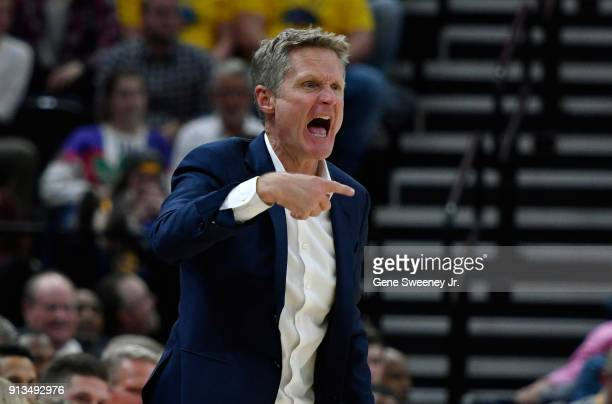 Head coach Steve Kerr of the Golden State Warriors yells to his team during a game against the Utah Jazz at Vivint Smart Home Arena on January 30...