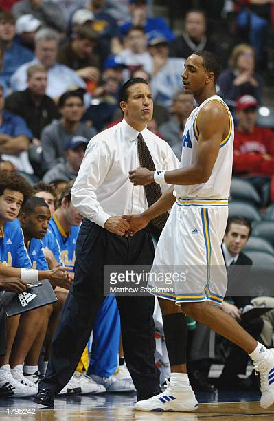 Head coach Steve Lavin chats with Dijon Thompson of the UCLA Bruins during the John R Wooden Tradition against Duke University Blue Devils at Conseco...