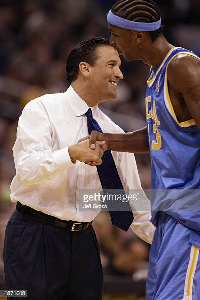 Ucla Head Coach Steve Lavin Encourages Tj Cummings During The Ncaa Pac10 Conference Tournament Semifinals Game