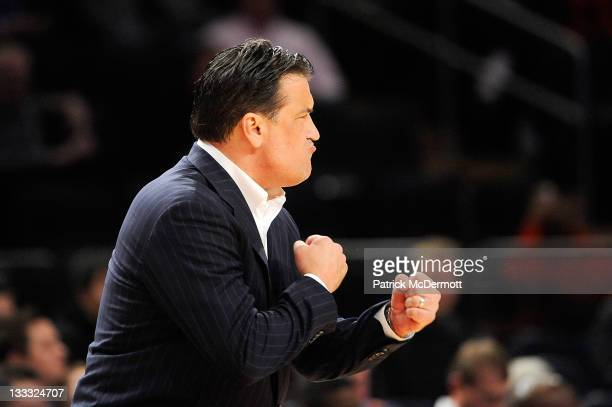 Head coach Steve Lavin of the St John's Red Storm reacts against the Texas AM Aggies during the 2K Sports Classic Benefiting Coaches Vs Cancer at...