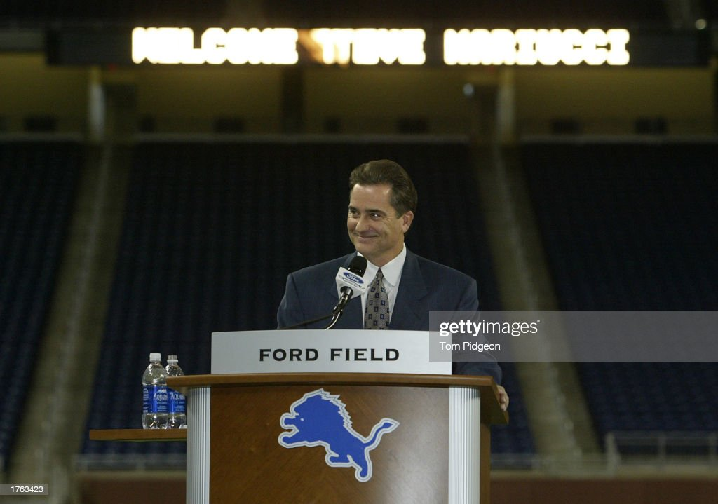Head Coach Steve Mariucci of the Detroit Lions smiles while meeting with the media on February 5, 2003 at Ford Field in Detroit, Michigan.