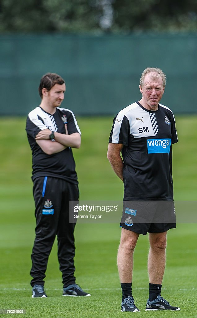 Head Coach Steve McClaren (R) and Assistant Coach Ian Cathro (L) stand on the pitch during the Newcastle United Pre-Season Training session at The Newcastle United Training Centre on July 1, 2015, in Newcastle upon Tyne, England.