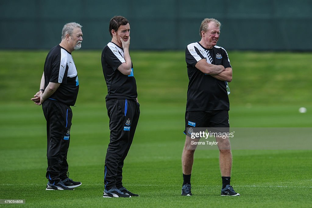 Head Coach Steve McClaren (R) Assistant Coach Ian Cathro (L) and Consultant Steve Black (R) stand on the pitch during the Newcastle United Pre-Season Training session at The Newcastle United Training Centre on July 1, 2015, in Newcastle upon Tyne, England.