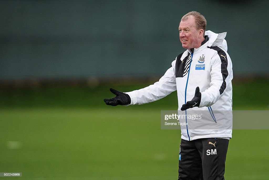 Head Coach Steve McClaren gestures during the Newcastle United Training session at The Newcastle United Training Centre on December 22, 2015, in Newcastle upon Tyne, England.