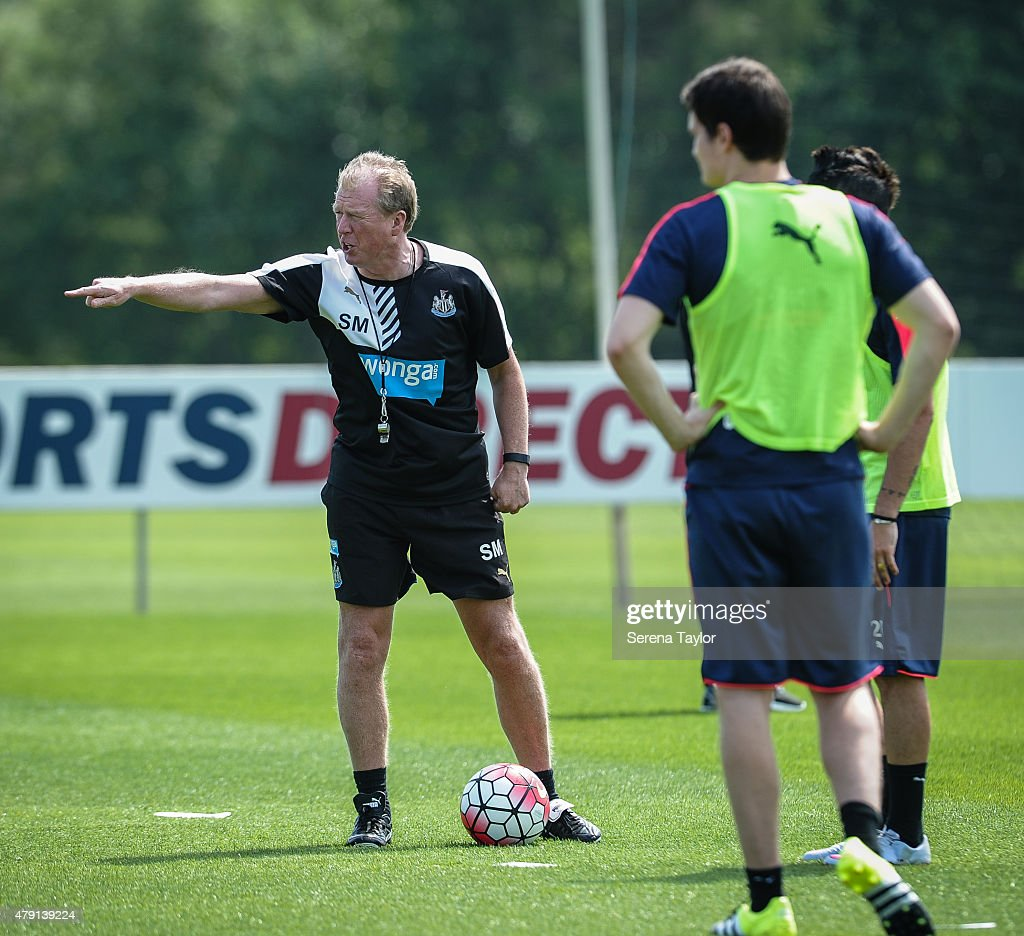 Head Coach Steve McClaren points instructions whilst on the training pitch during the Newcastle United Pre-Season Training session at The Newcastle United Training Centre on July 1, 2015, in Newcastle upon Tyne, England.