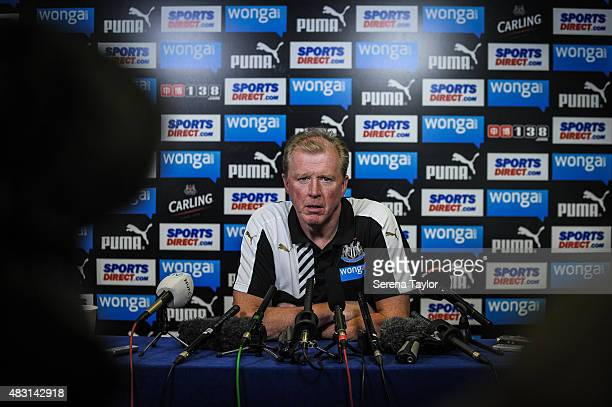 Head Coach Steve McClaren sits down in front of advertising boards to start his first press conference at The Newcastle United Training Centre on...