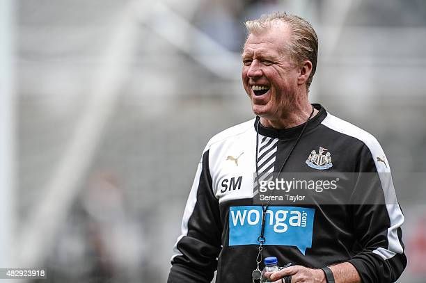 Head Coach Steve McClaren smiles during the Newcastle United Open Training session at StJames' Park on August 4 in Newcastle upon Tyne England