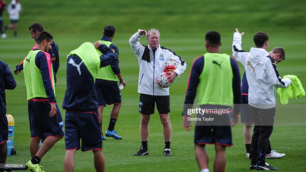Head Coach Steve McClaren (C) stands on the pitch giving instructions to his players during the Newcastle United Pre-Season Training session at The Newcastle United Training Centre on July 28, 2015, in Newcastle upon Tyne, England.