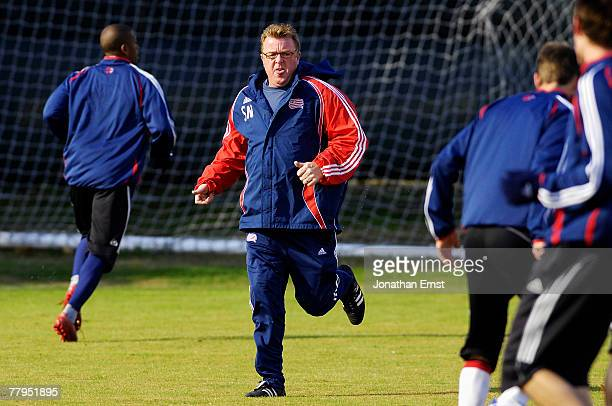 Head Coach Steve Nicol of the New England Revolution leads his team in a practice session for the upcoming MLS Cup at RFK Stadium November 16 2007 in...