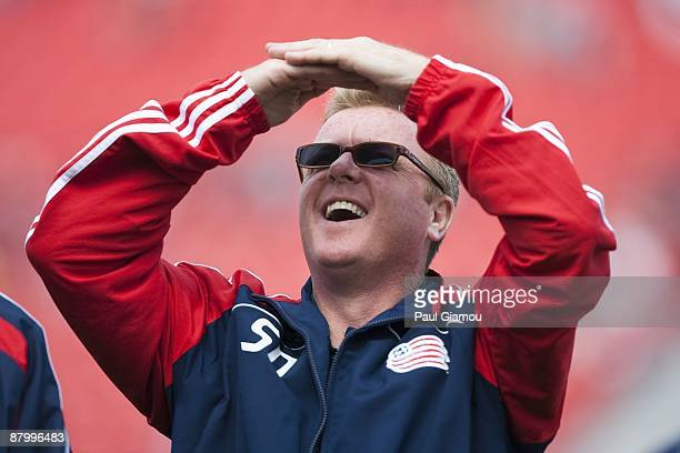 Head coach Steve Nicol of the New England Revolution watches his team during the match against the Toronto FC at BMO Field on May 23 2009 in Toronto...