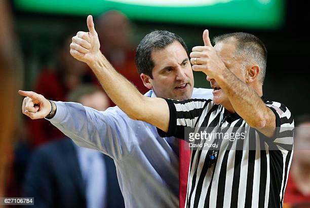 Head coach Steve Prohm of the Iowa State Cyclones argues a call with the referee in the second half of play against the Cincinnati Bearcats at Hilton...