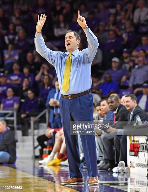 Head coach Steve Prohm of the Iowa State Cyclones calls out insstructions during the first half against the Kansas State Wildcats at Bramlage...