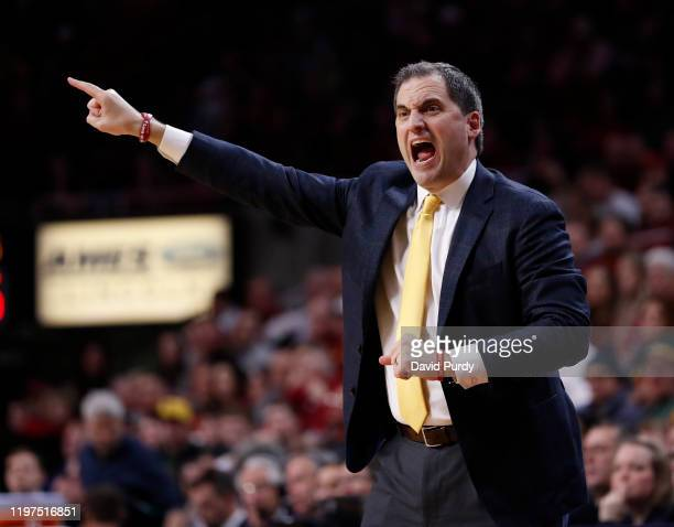 Head coach Steve Prohm of the Iowa State Cyclones coaches from the bench in the second half of the play against the Baylor Bears at Hilton Coliseum...
