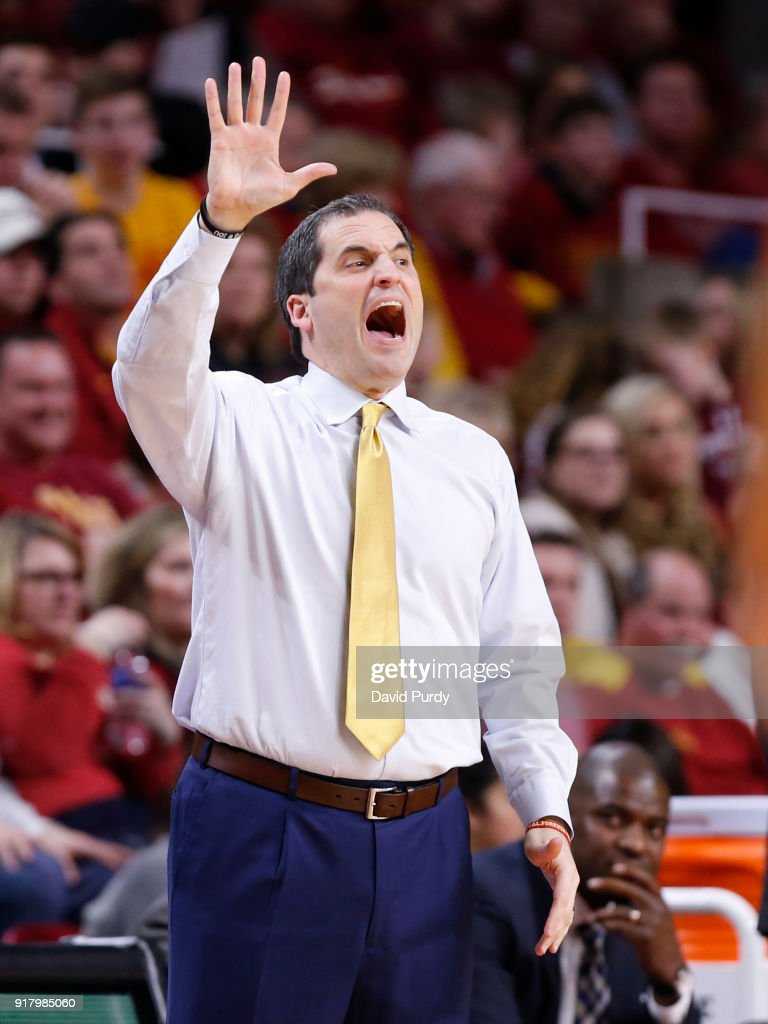 Head coach Steve Prohm of the Iowa State Cyclones coaches from the bench in the second half of play against the Kansas Jayhawks at Hilton Coliseum on February 13, 2018 in Ames, Iowa. The Kansas Jayhawks won 83-77 over the Iowa State Cyclones.