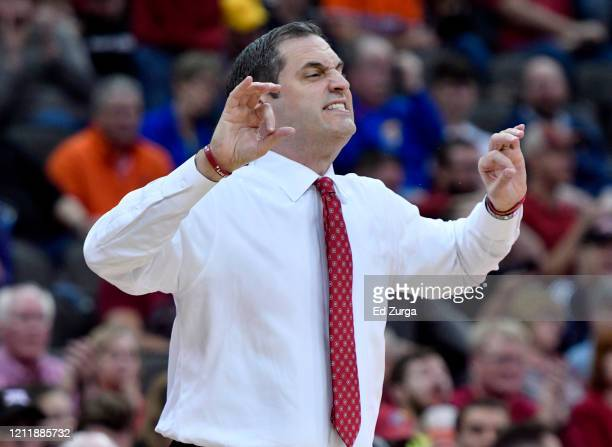 Head coach Steve Prohm of the Iowa State Cyclones directs his team against the Oklahoma State Cowboys in the first half during the first round of the...