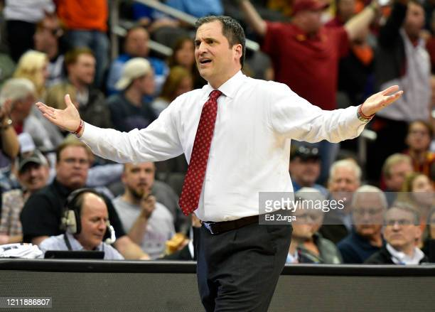 Head coach Steve Prohm of the Iowa State Cyclones reacts a foul call against the Oklahoma State Cowboys in the second half during the first round of...