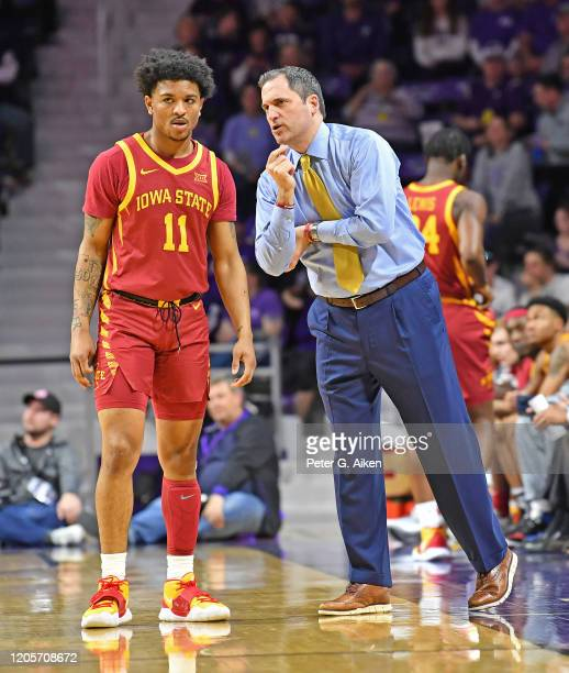 Head coach Steve Prohm of the Iowa State Cyclones talks with Prentiss Nixon during the first half against the Kansas State Wildcats at Bramlage...