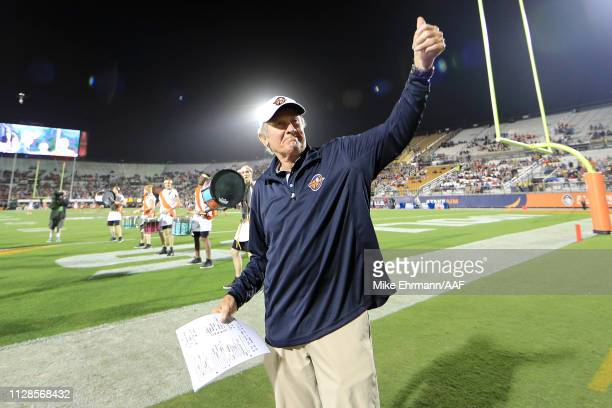Head coach Steve Spurrier of Orlando Apollos takes the field prior to the game against the Atlanta Legends on February 09 2019 in Orlando Florida