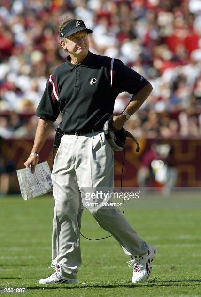 Head coach Steve Spurrier of the Washington Redskins reacts to a penalty in a 3513 loss to the Tampa Bay Buccaneers during a NFL game on October 12...