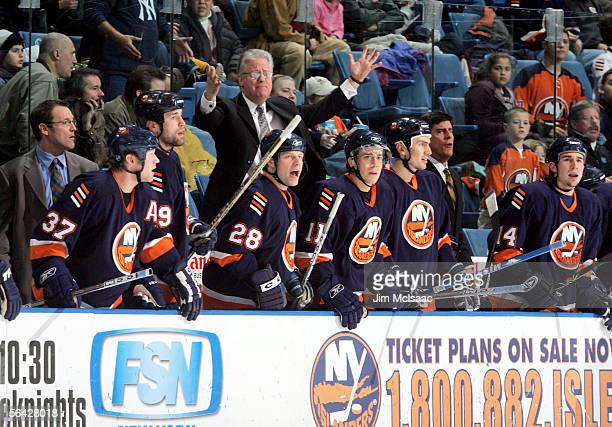 Head coach Steve Stirling of the New York Islanders complains to the referee during their game against the Minnesota Wild on December 13, 2005 at...