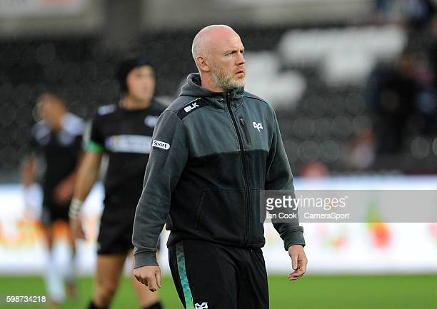 Head Coach Steve Tandy of Ospreys during the pre match warm up during the Guinness PRO12 Round 1 match between Ospreys and Zebre Rugby at Liberty...