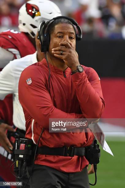 Head coach Steve Wilks of the Arizona Cardinals reacts during the NFL game against the Los Angeles Rams at State Farm Stadium on December 23 2018 in...