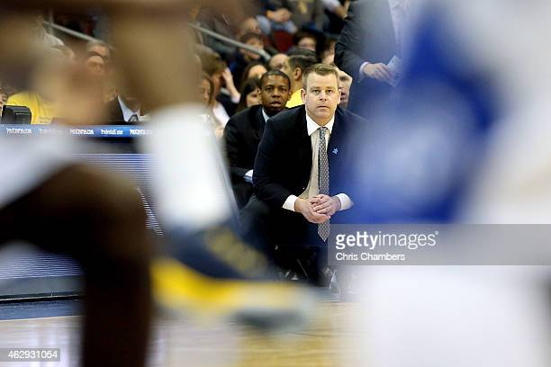 Head coach Steve Wojciechowski of the Marquette Golden Eagles coaches against the Seton Hall Pirates at Prudential Center on February 7 2015 in...