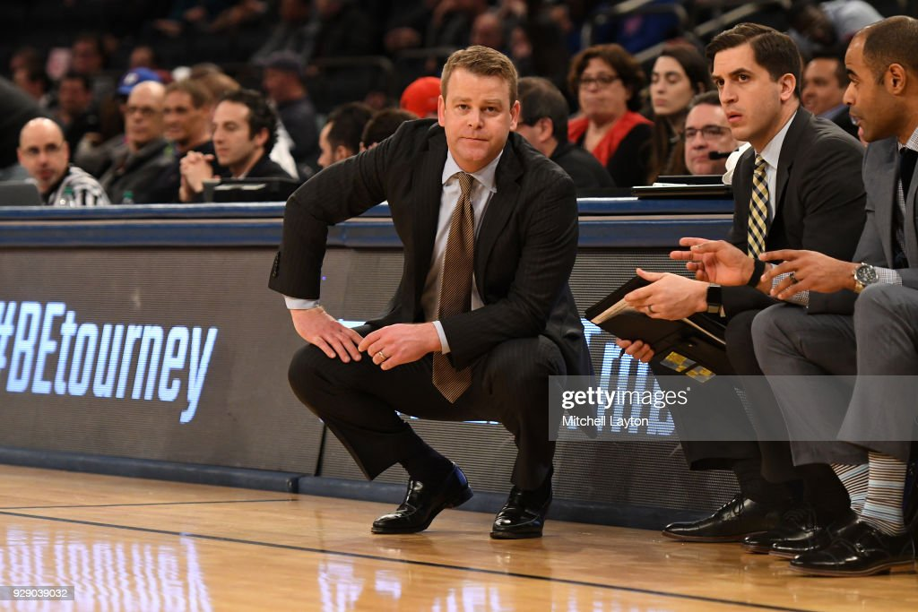 Head coach Steve Wojciechowski of the Marquette Golden Eagles looks on during the first round of the Big East Men's Basketball Tournament against the DePaul Blue Demons at Madison Square Garden on March 7, 2018 in New York City. Photo by Mitchell Layton/Getty Images)