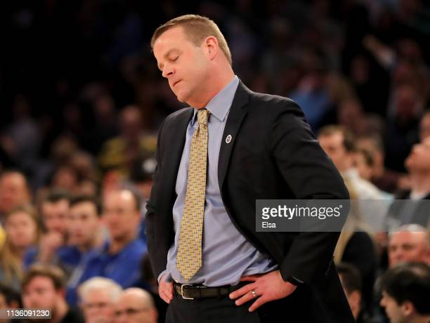 Head coach Steve Wojciechowski of the Marquette Golden Eagles reacts in the final minutes of the game against the Seton Hall Pirates during the...