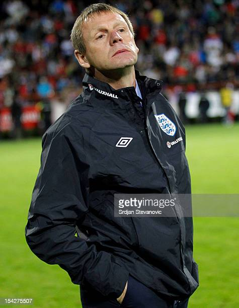Head Coach Stuart Pearce of England during the Under 21 European Championship Play Off second leg match between Serbia U21 and England U21 at Stadium...