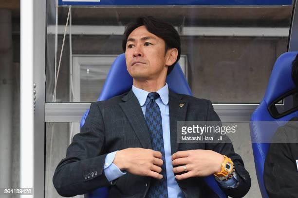 Head coach Susumu Watanabe of Vegalta Sendai looks on prior to the JLeague J1 match between Vegalta Sendai and Shimizu SPulse at Yurtec Stadium...