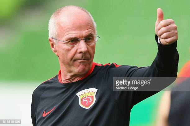Head coach Sven Goran Eriksson gestures during the Shanghai SIPG training session at AAMI Park on February 23 2016 in Melbourne Australia