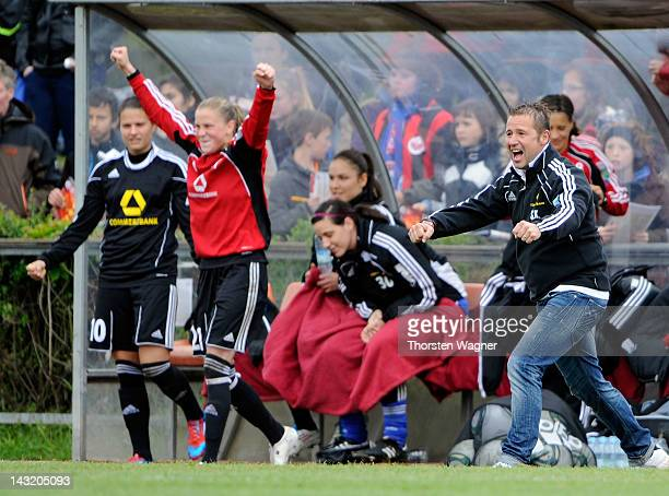 Head coach Sven Kahlert of Frankfurt celebrates after winnig the UEFA Women's Champions League Semi Final match between 1FFC Frankfurt and Arsenal...