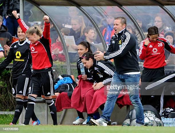 Head coach Sven Kahlert of Frankfurt celebrates after winnig the UEFA Women's Champions League Semi Final match between 1.FFC Frankfurt and Arsenal...
