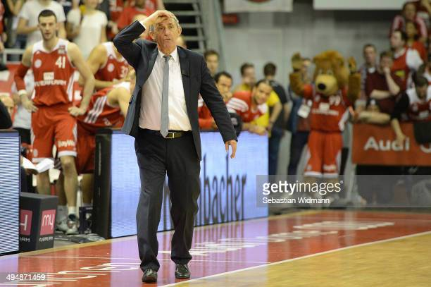 Head coach Svetislav Pesic gestures during game three of the 2014 Beko BBL Playoffs SemiFinal between FC Bayern Muenchen and EWE Baskets Oldenburg at...