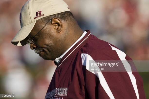 Head Coach Sylvester Croom of the Mississippi State Bulldogs frowns on the sidelines during a loss to the Arkansas Razorbacks at Davis Wade Stadium...