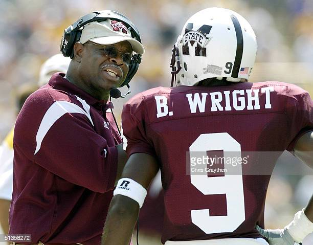 Head Coach Sylvester Croom talks with Brandon Wright of Mississippi State University against Louisiana State University on Saturday September 25 at...
