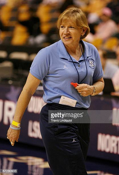 Head coach Sylvia Hatchell of the North Carolina Tar Heels shouts encouragement to her players during practice before the 2006 NCAA Women's Final...